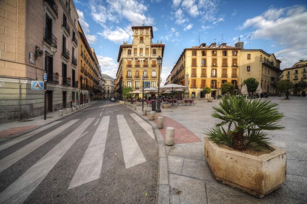old square in the Madrid city, Spain